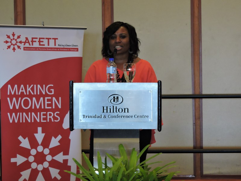 Dr. Camille Wardop-Alleyne, addressing the audience at the Association of Female Executives of Trinidad and Tobago's 2015 International Women's Day luncheon. Photo by Dawn Lafond, used with permission.