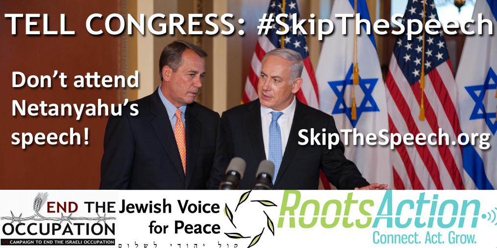 Banner by the #SkipTheSpeech campaign organized by