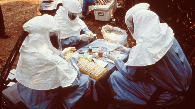Scientists wearing personal protective equipment (PPE) testing samples for the Ebola virus - Public Domain