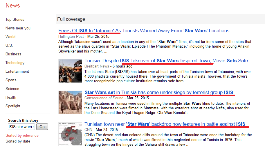 A few headlines on ISIS taking over Tatooine as they appear on Google News