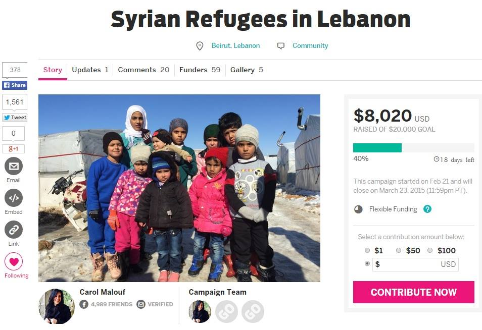 Screenshot of the ongoing IndieGogo by 'Lebanese for Refugees'