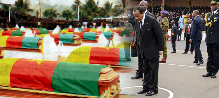 Photoshopped picture that appeared on government website of president Paul Biya honoring fallen soldiers. Cameroonian government claims the photo was uploaded by a hacker.