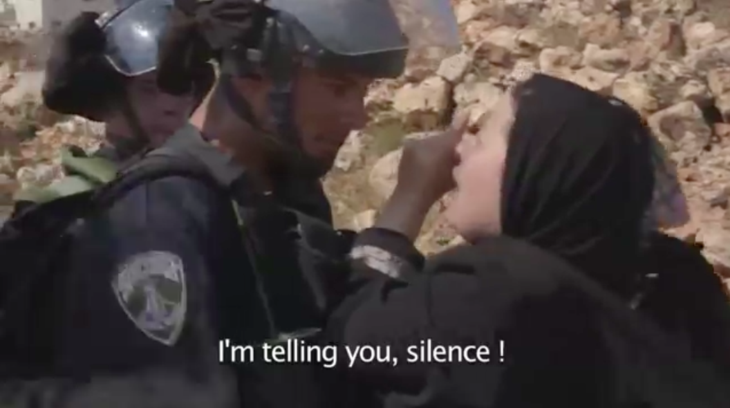 Screenshot from 'Discarding Gaza showing a Palestinian mother confronting an IDF soldier.