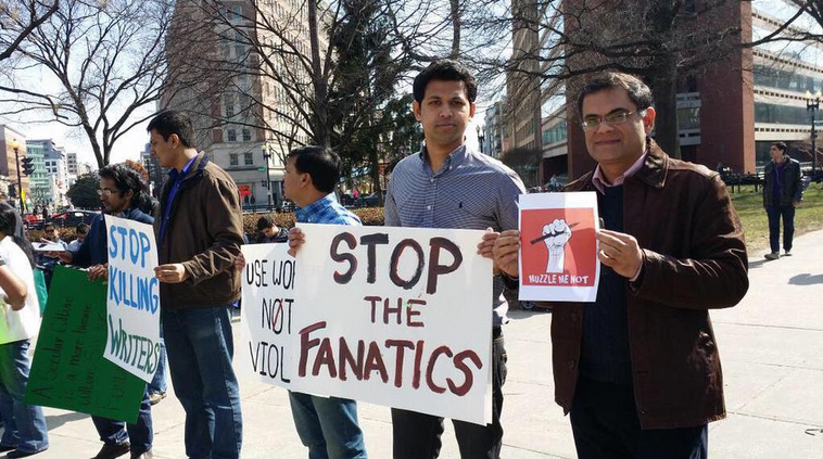 Raza Rumi (far right) at a demonstration in Washington DC, following the slaying of Bangladeshi blogger Avijit Roy. Photo posted on Twitter by Raza Rumi.