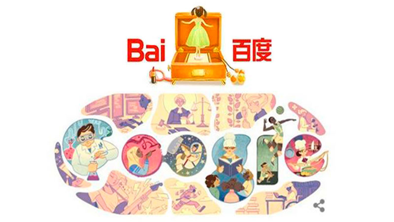 Baidu's and Google's doodles on March 8. Screenshots.