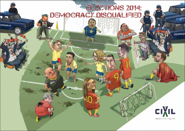 "Front page of the Macedonia elections 2014 monitoring report ""Democracy Disqulified"" by CIVIL - Center for Freedom. (PDF)"