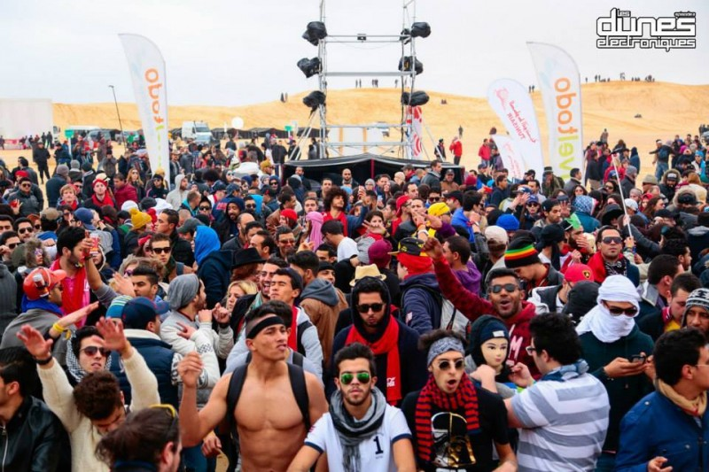Youth partying at the Star Wars set in Southern Tunisia. Photo by the Facebook Pages of the Electronic Dunes Festival