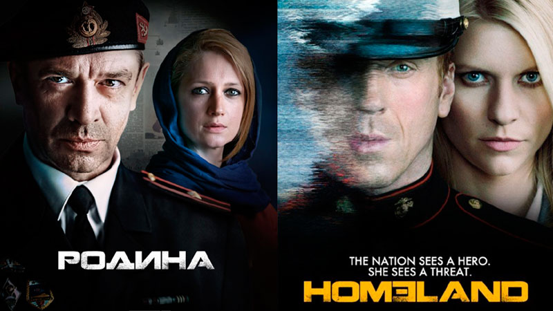 "Russia's new TV series ""Rodina"" (left) and the US hit show ""Homeland"" (right). Image courtesy of TJournal.ru."