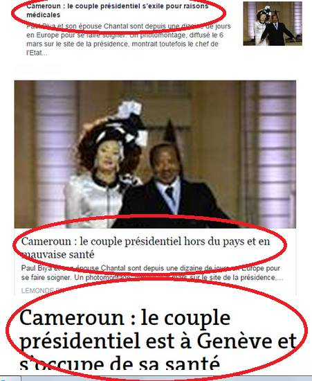 Screenshots by Cameroonian blogger Allain Jules that show the evolution of headlines from Le Monde regarding the presidential couple in Cameroon.