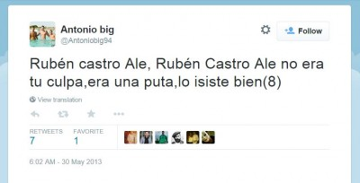 """Go Rubén Castro, Go Rubén Castro, it wasn't your fault, she was a whore, you did good (8)"""