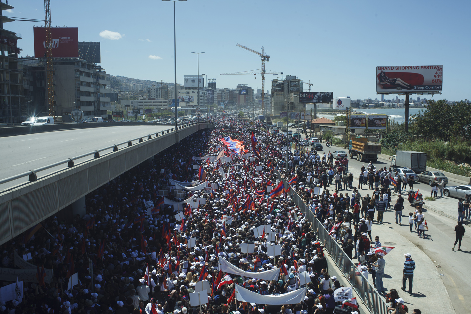 Lebanese Armenians and supporters marched on April 24th. Photo by Paul Gorra.
