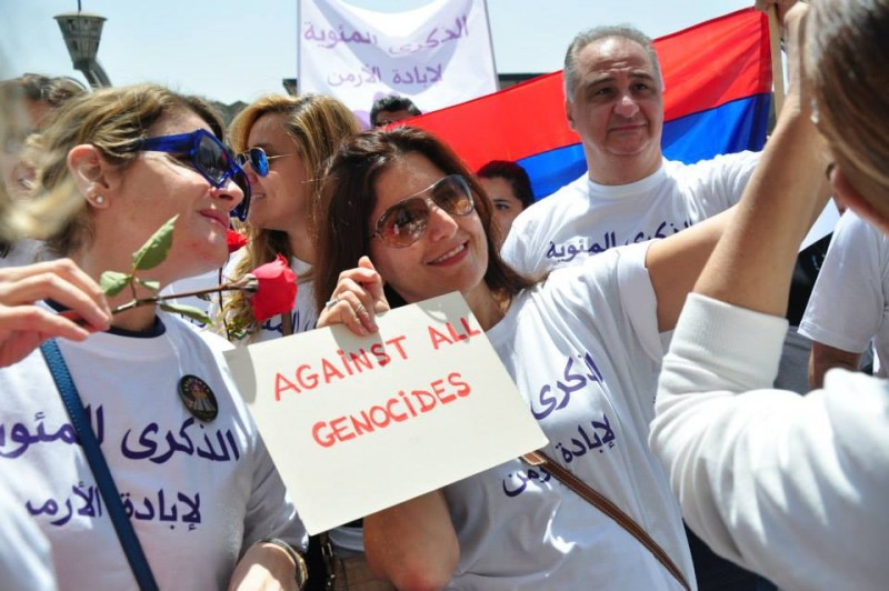 The Armenian community in Egypt marched to  commemorate the Armenian Genocide Centennial. Photograph shared on Facebook by Kegham Karsian