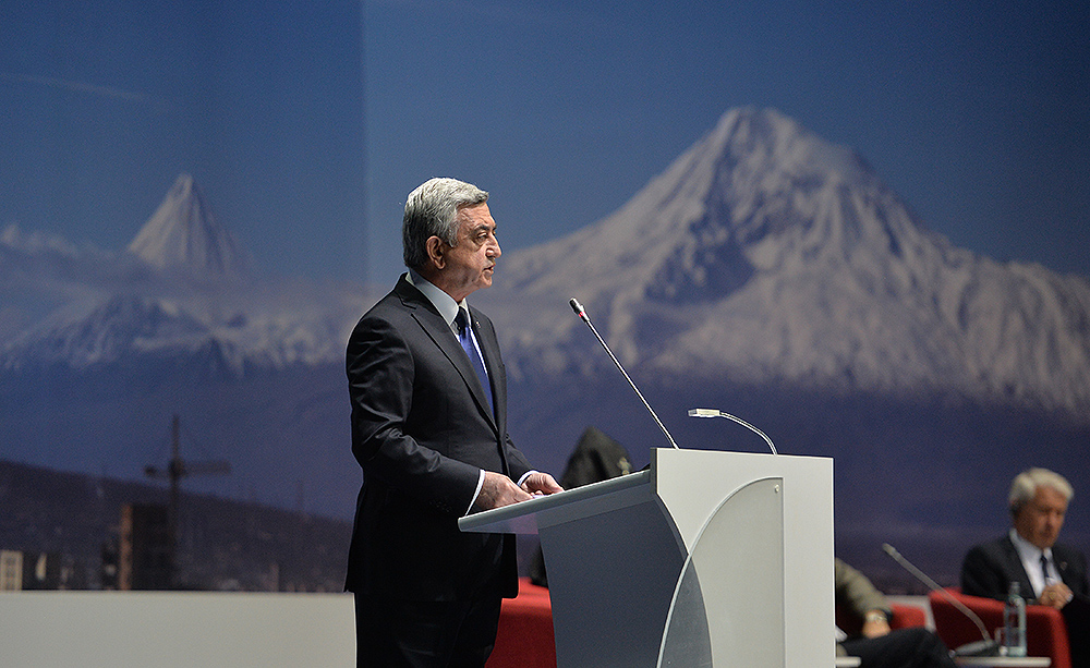 President of Armenia Serzh Sargsyan giving his speech. Source: Presidential Website