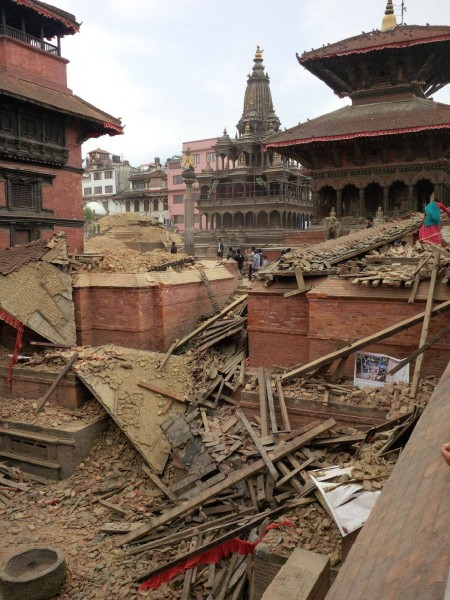 Only Krishna Mandir and Taleju Temple left standing in Patan Square. Image by Kunda Dixit. Used with permission