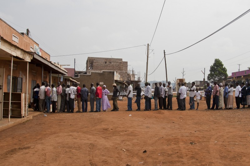 Voters line up at a polling station in Nyendo Masaka, Uganda, on February 18, 2011. Photo by Peter Beier. Copyright Demotix