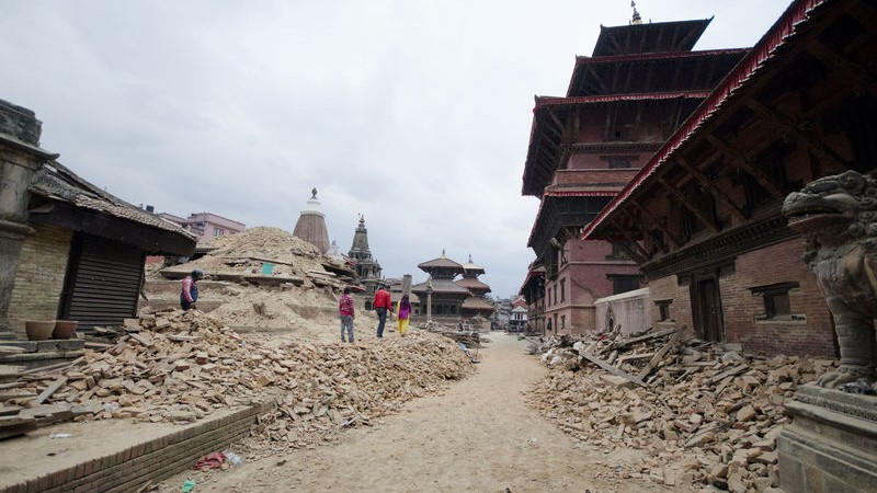 Patan durbar square historic infrastructure in Kathmandu, Nepal greatly damaged due to the massive earthquake. Image by Sumit Shrestha. Copyright Demotix (25/4/2015)