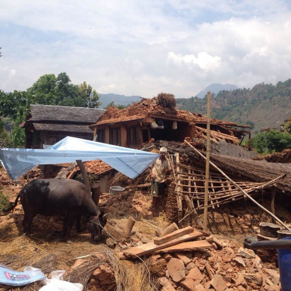 Image of the Thaprek village completely destroyed by the earthquake. Image by Madhav Adhikari (Narayan's brother), taken by a mobile phone. Used with permission.