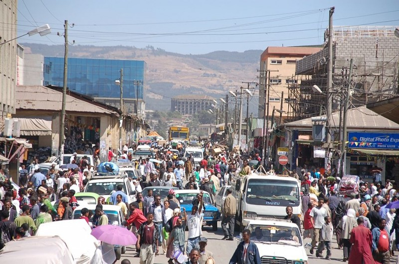 A crowded street in Addis Ababa. Photo by Sam Effron via Wikimedia (CC BY-SA 2.0)