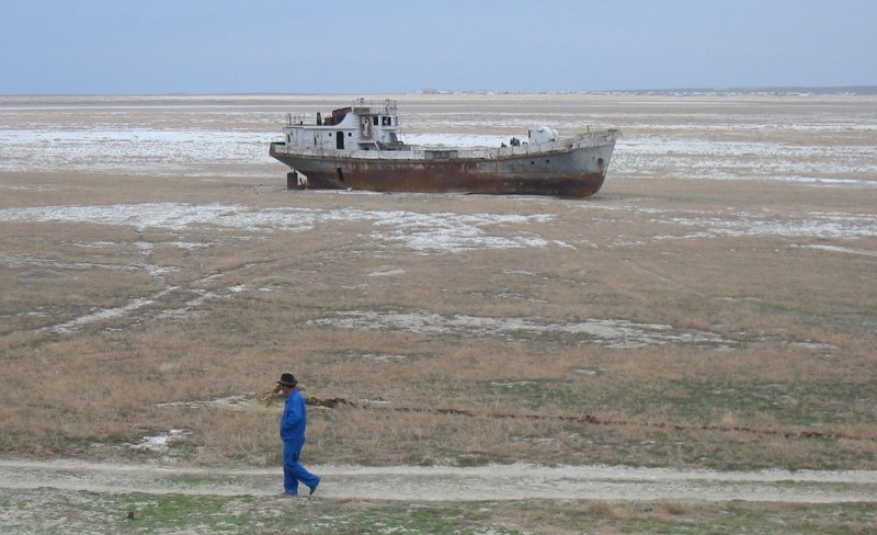 The near total shrinkage of the Aral Sea. Wikipedia image.