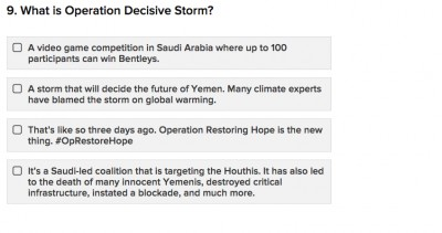 "A screen shot of one of the 10 questions on the ""Yemen Expert"" quiz"