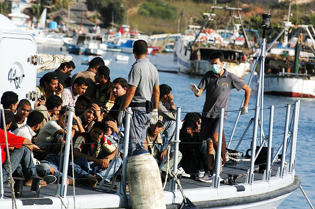 Migrants arriving on the Island of Lampedusa by Regis51 CC-BY-20