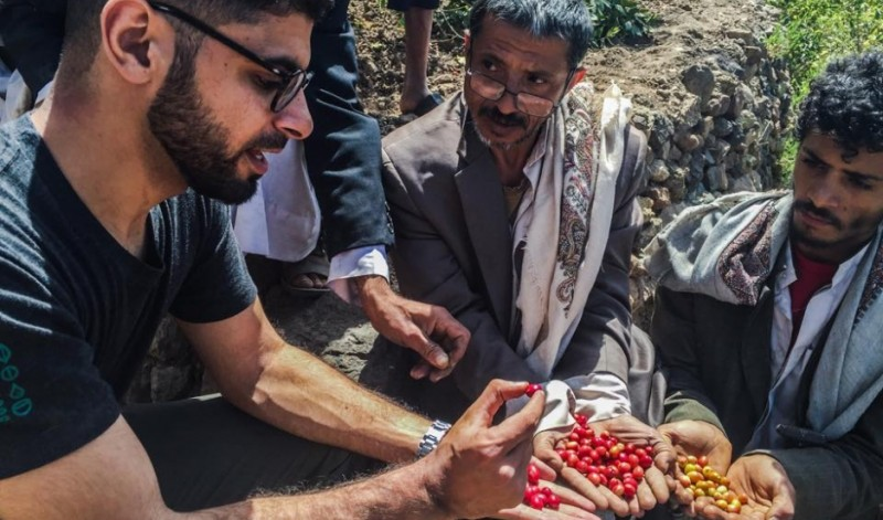 Over the past year, Mokhtar Alkhanshali, who lives in California, has worked with Yemeni coffee farmers to promote their beans to the world. Photo courtesy of Mokhtar Alkhanshali. Published with PRI's permission