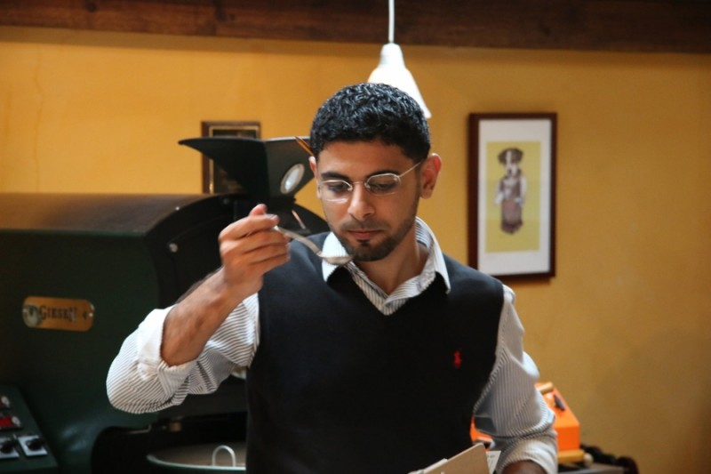 Mokhtar Alkhanshali, 26, at his Oakland-based Mocha Mill coffee company, which specializes in beans from Yemen. Photo courtesy of Mokhtar Alkhanshali. Published with PRI's permission