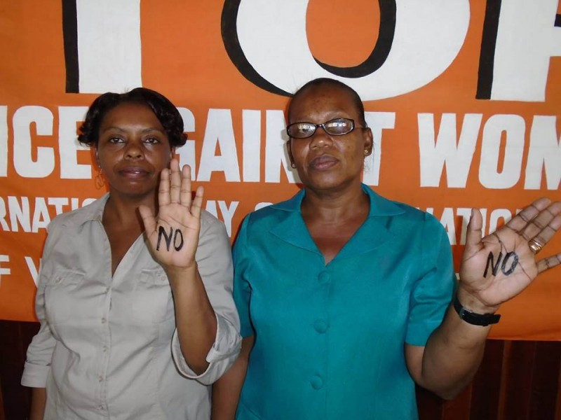 Workers in Guyana say no to violence against women: Clerical and Commercial workers' union mark 2014 UN international day of the elimination of violence against women. Photo by International Transport Workers' Federation, used under a CC BY-NC-SA 2.0 license.