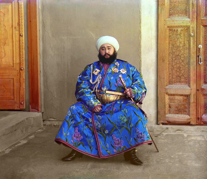 Alim Khan, the Last Emir of Bukhara, ruled part of Uzbekistan under the suzerainty of the Russian empire. A 1911 colour photo by pioneer photographer Sergei Prokudin-Gorsky. Wikipedia image.