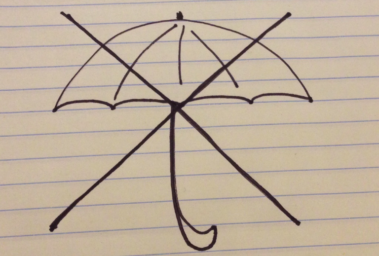 Anti-umbrella sketch by Ellery Roberts Biddle.