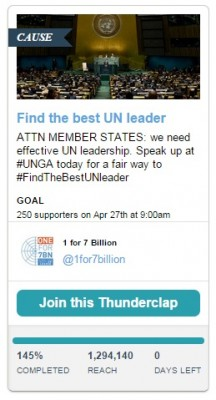 1 for 7 billion campaign thunderclap for April 27 debate