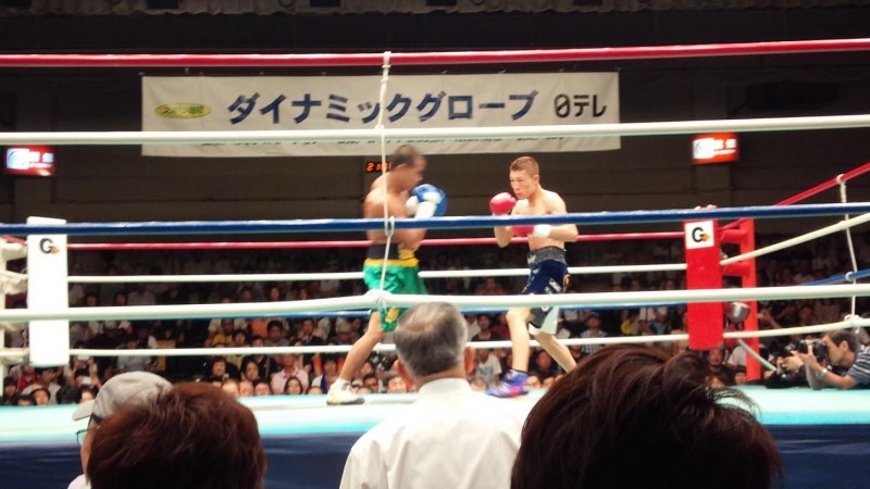 One of Eiji's Filipino players in a boxing match in Tokyo