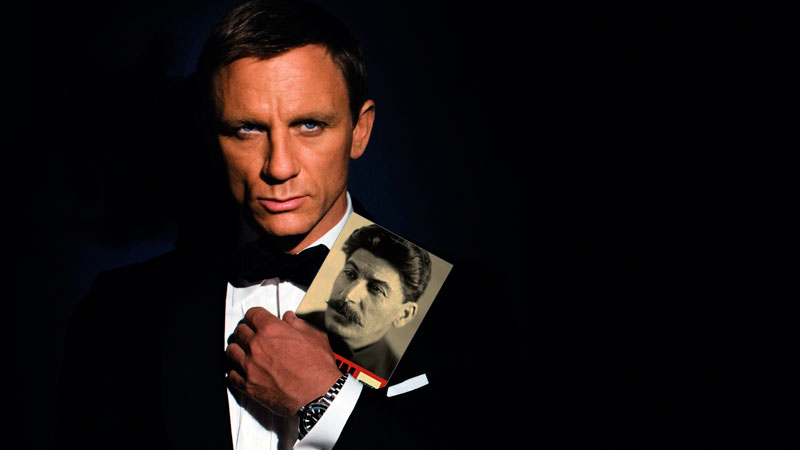 The name's Bond, Professor Bond. And he's studiously reading Stephen Kotkin's new biography about Stalin. Image edited by Kevin Rothrock.