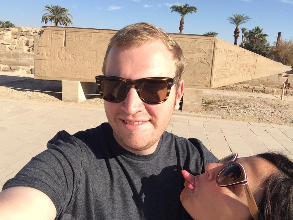 Salma El-Daly  with her husband on a vacation in Upper Egypt