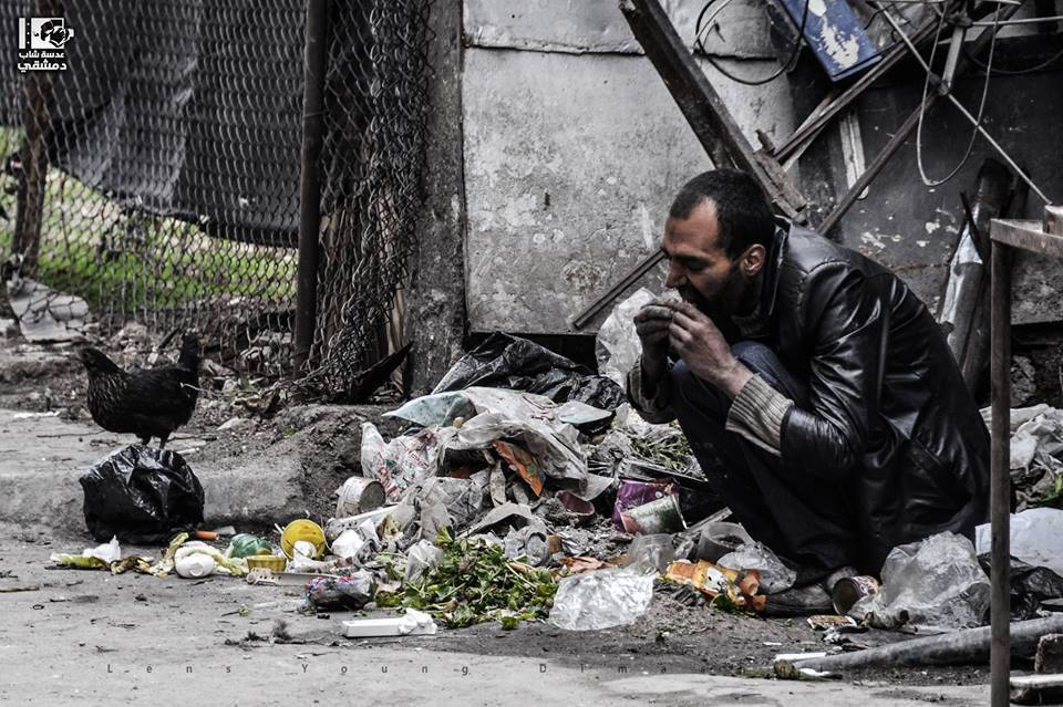 Syrian-Palestinians are eating from the garbage.