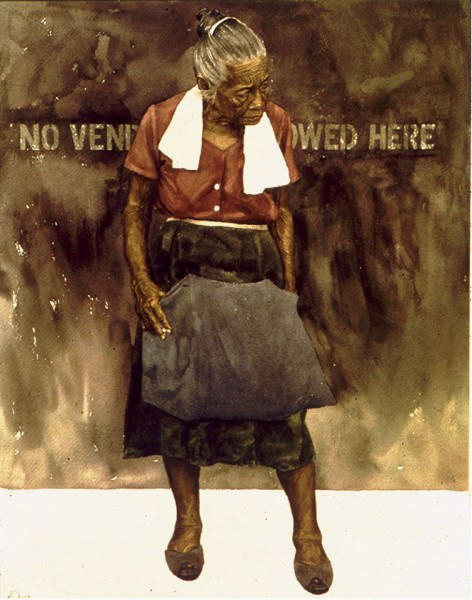 Bawal Hanapbuhay (No Vendors Allowed) Watercolor, 1978