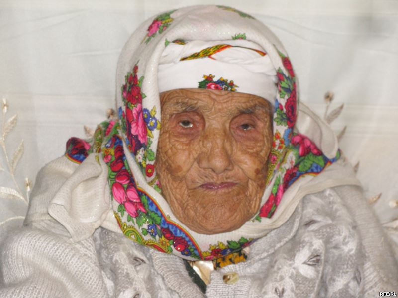 Tuti Yusupova - the oldest in the world? Image from RFE/RL. Used under creative commons.