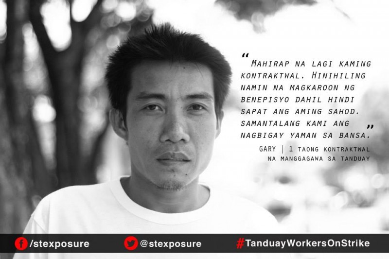 """It's hard for us always being contractual. We demand to have benefits because our wages are not enough. Even as we give wealth to the nation."" - Gary, 1-year contractual worker in Tanduay."
