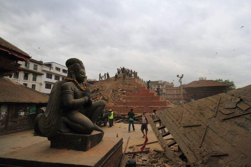 Historical Monuments after the earthquake at Kathmandu Durbar Square. Image by Ajaya Manandhar. Copyright Demotix (25/4/2015)