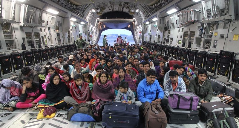 Nepalese victims of April 25, 2015 earthquake pictured inside an Indian Airforce aircraft as they are evacuated from Trishuli Bazar to Kathmandu airport in Nepal. Image via hemantrawat1234. Copyright Demotix (28/4/2015)