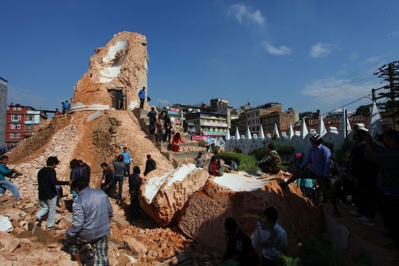 The nine-storey Dharahara, also called Bhimsen Tower, lies in ruins. Image by Sunil Sharma. Copyright Demotix (27/4/2015)