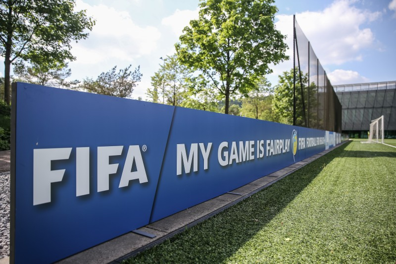 Zurich, Switzerland. FIFA promotes fairplay on the banners around the football pitch. On 27 May 2015, FIFA executive members were arrested in the Hotel Baur au Lac in Zurich. Photo by Roman Beer. Copyright Demotix