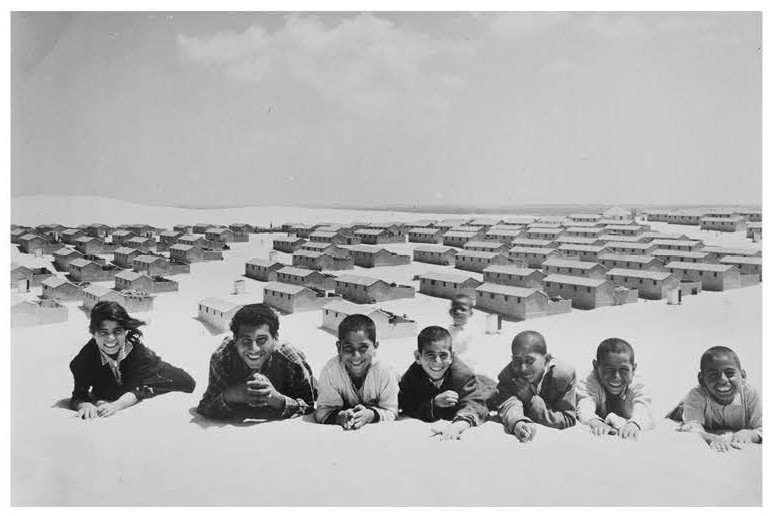 """Cement block houses replace tented refugee camp, Khan Younis, Gaza Strip, 1955 (Photo/J. Madvo, UNRWA Photo Archives)"