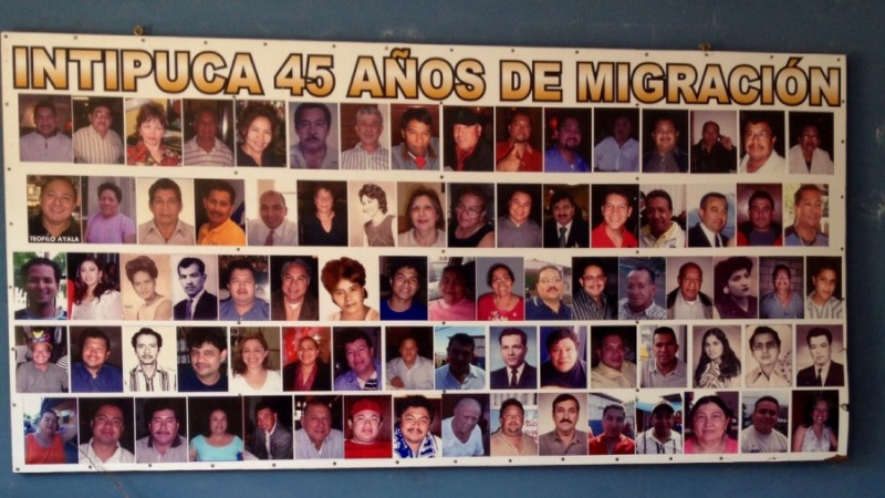 A poster in Intipucá's cultural center celebrates the 45th anniversary since the first migrant left town for the US Credit: Ruxandra Guidi. Published with PRI's permission