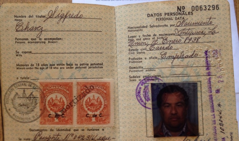A passport that belonged to Sigfredo Chávez. Intipucá celebrates him as its first migrant to take off for the US.  Credit: Ruxandra Guidi. Published with PRI's permission