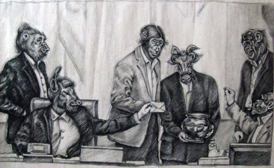 Athena's cartoon depicting members of the Iranian parliament as animals voting on the prohibition of voluntary permanent contraception, or vasectomies. Image taken from 'Free Atena' Facebook page.