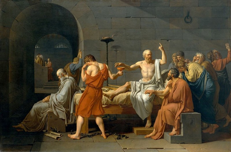 The Death of Socrates, by Jacques-Louis David. Released to public domain. Image via Wikimedia.