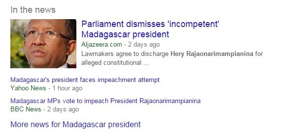 Screen Capture of Media Headlines about Madagascar via Google News