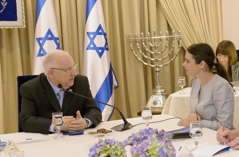 Ayelet Shaked with Reuven Rivlin, President of Israel in consultations after the elections, March 23, 2015. by מארק ניימן Government Press Office of Israel - Mark Nayman. CC BY-SA 3.0