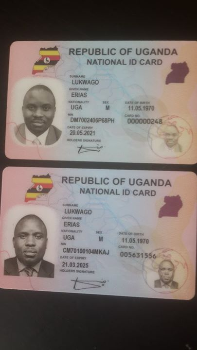 2 National Identity cards of Kampala Mayor Erias Lukwago with same biometric data ith the same biometric data but different serial numbers and expiration dates. Image shared of his Facebook page.